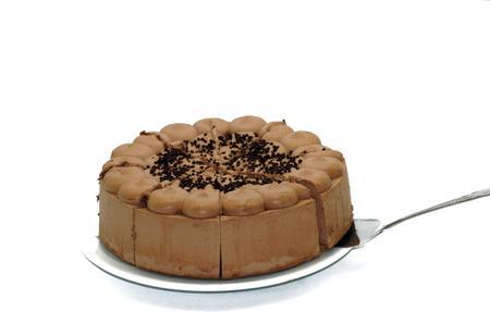 Chocolate cake cake on white background