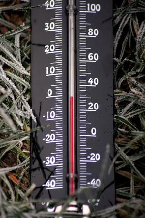 Frosty temperatures Thermometer below zero