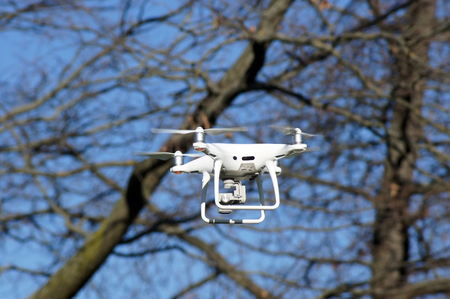 Drone is flying in the sky