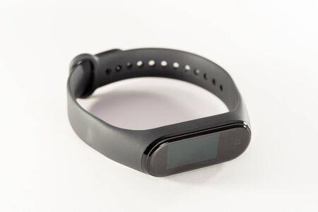 Activity bracelet, fitness tracker, smart watch, pedometer wristband. 3d illustration isolated on white background