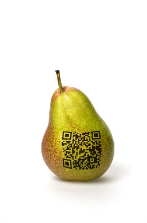 yellow pear with qr code photo