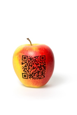 bar code reader: apple with qr code isolated on a white background Stock Photo