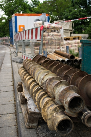 auger: construction site with auger drills Stock Photo