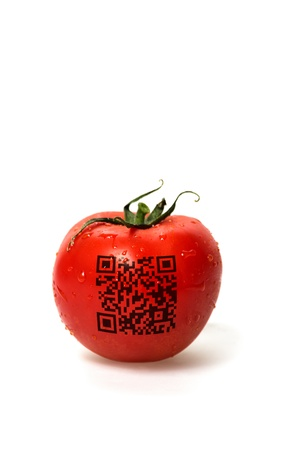 red tomato with qr code photo
