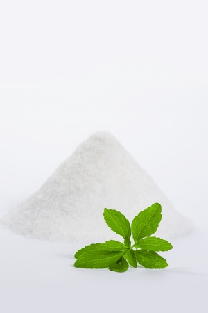 stevia with a pile of sugar 2 Stock Photo