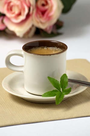 espresso with stevia leaves photo