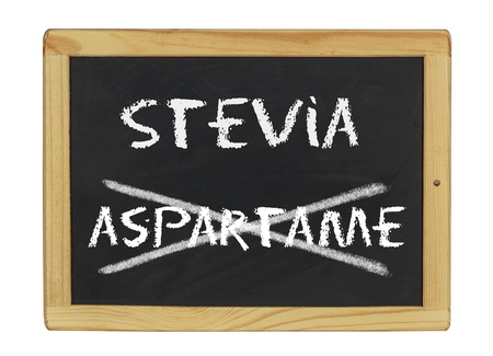 chalkboard with stevia and aspartame written on it photo