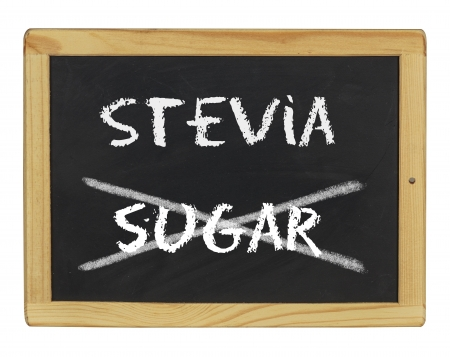 chalkboard with stevia and sugar written on it photo