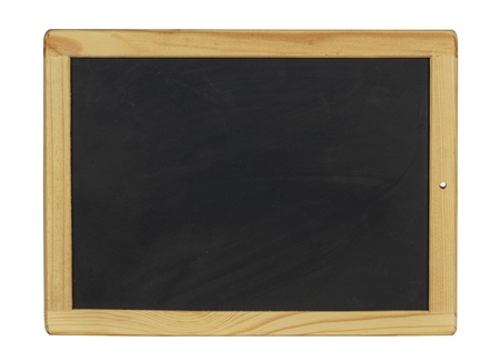 empty black chalkboard with wooden frame photo