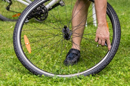repairing a flat bicycle tire photo