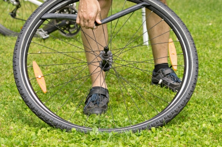 disassembly: repairing a flat bicycle tire