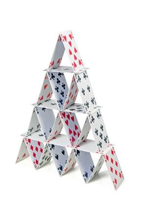 jeu de carte: château de cartes Banque d'images