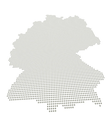 rasterized: Perspectively distorted map of Germany with a point grid Stock Photo