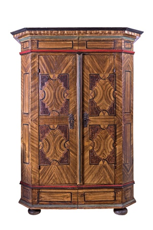 inlays: Antique painted wooden wardrobe Stock Photo
