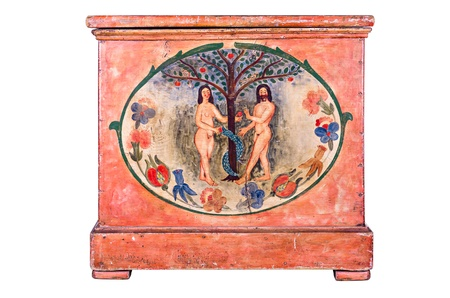 adam eve: Antique wooden chest with Adam and Eve painting