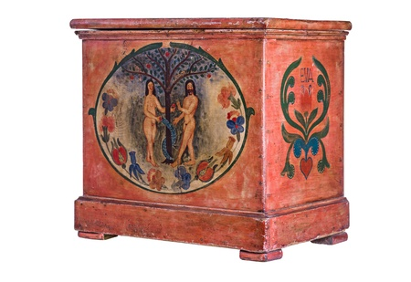 Antique wooden chest with Adam and Eve painting