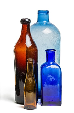 ultramarine blue: Composition of old blue and brown bottles Stock Photo