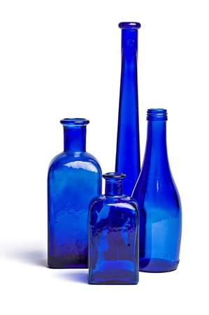 antique vase: Composition of old blue bottles