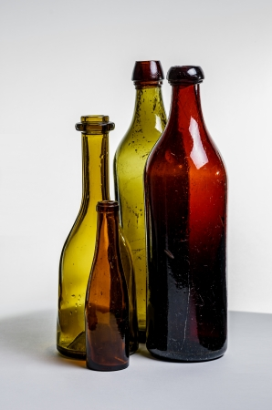 inclusions: Composition of old brown bottles Stock Photo