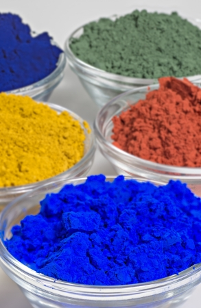product mix: color pigments in glass bowls