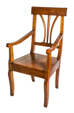 seating furniture: antique armchair made of cherry wood from the biedermeier time Stock Photo