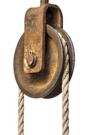 Old pulley with rope Stock Photo - 14888994