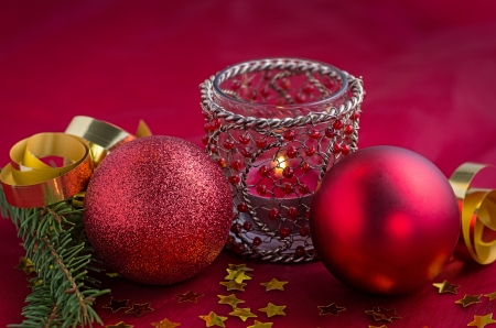 ambiance: Christmas decoration with candle Stock Photo
