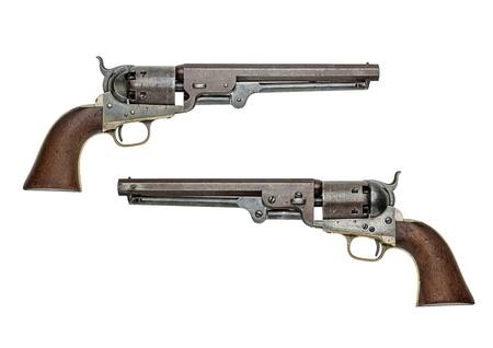 pistola: americano antiguo Navy Colt rev�lver de percusi�n Foto de archivo