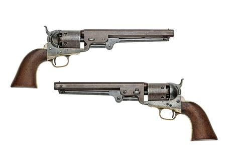 handguns: antique american Colt Navy percussion revolver Stock Photo