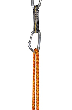 carabiner: climbing rope clipped into a quickdraw Stock Photo