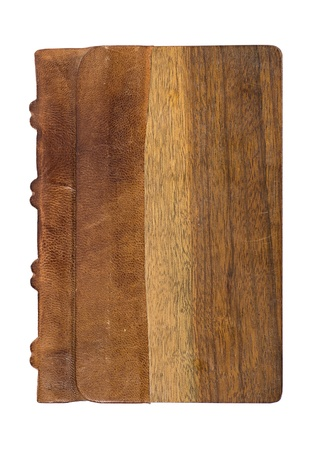 book binding: precious book with a noble leather and wooden cover