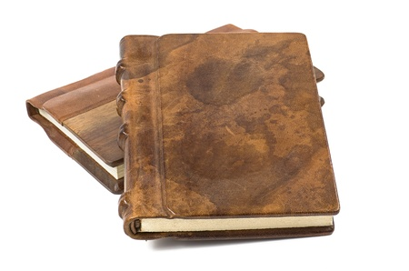 precious book with a noble leather and wooden cover photo