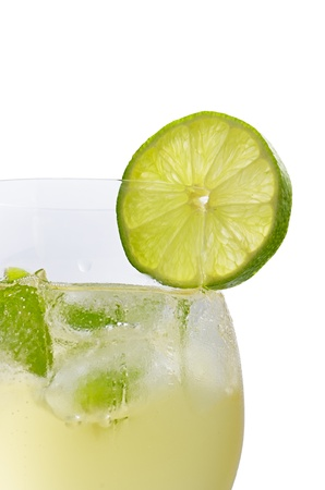hugo: Drink with lime and mint in a wine glass Stock Photo