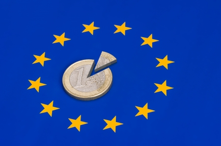 sliced euro coins on european flag photo