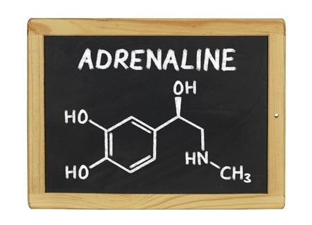 adrenaline: chemical formula of adrenaline on a blackboard Stock Photo