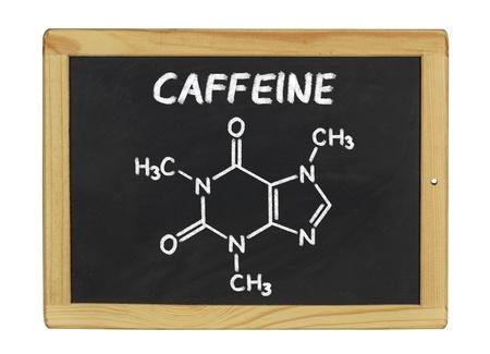 stimulant: chemical formula of caffeine on a blackboard