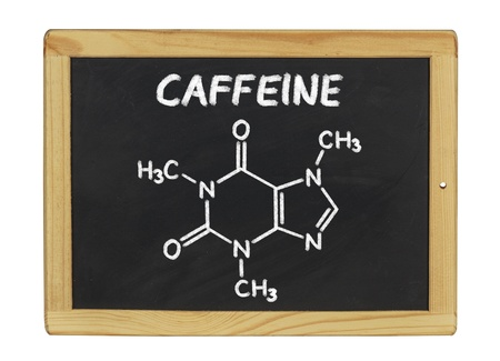 symbole chimique: formule chimique de la caféine sur un tableau noir Banque d'images
