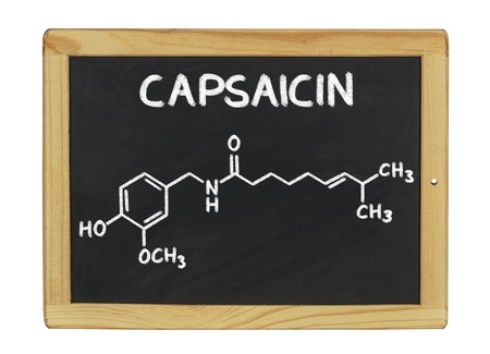 chemical formula of capsaicine on a blackboard photo