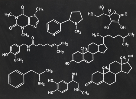 structural formula: many chemical formulas  on a blackboard Stock Photo