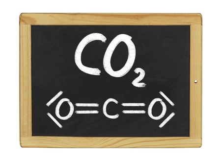 chemical formula of carbon dioxide on a blackboard photo