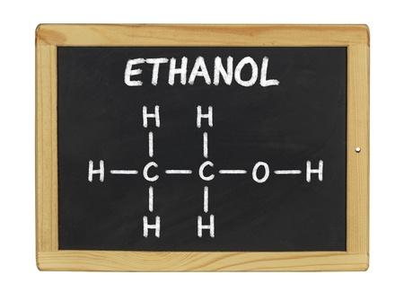 ethanol: chemical formula of ethanol on a blackboard