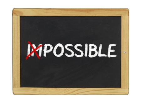 Impossible written on a blackboard photo