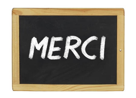 Merci written on a blackboard photo