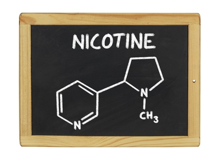 chemical formula of nicotine on a blackboard photo