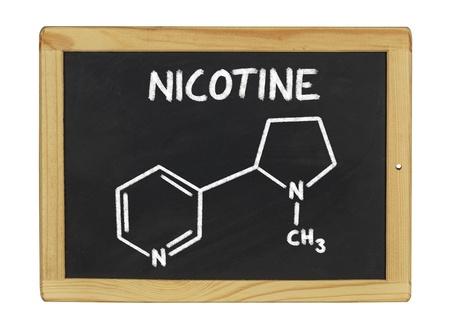 health education: chemical formula of nicotine on a blackboard