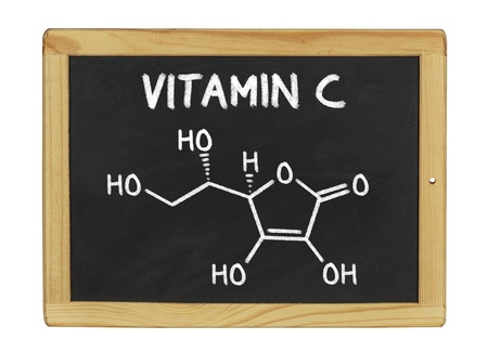 vitamin c: chemical formula of vitamin c on a blackboard
