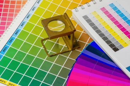 printing inks: color guide and color fan with linen tester Stock Photo