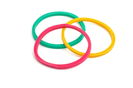 rubber bands: three rubber bands