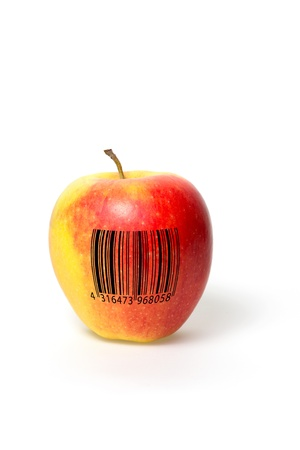 labeled: Apple with barcode