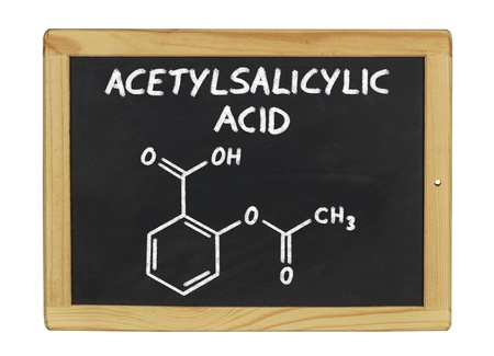 chemical formula of acetylsalicylic acid on a blackboard photo